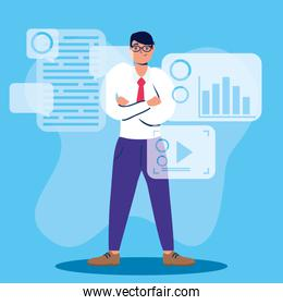 man using technology character icon