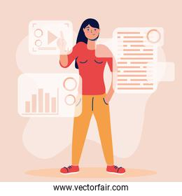 woman using technology character icon