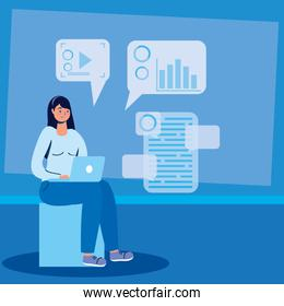 woman using laptop technology character icon