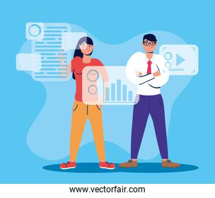 couple using technology characters icon