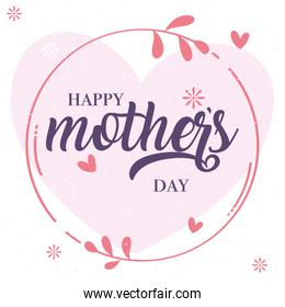 happy mothers day card with flowers circular frame