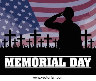Memorial Day with usa flag and soldier silhouette in cemetery