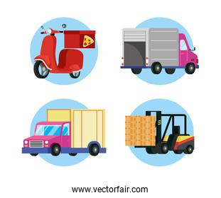 set transports delivery service icons