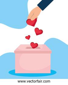 charity donation box with hand insert hearts