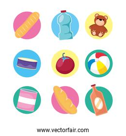 set of groceries and toys set icons