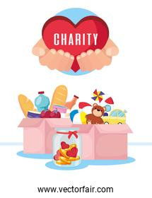 charity donation boxes with groceries and toys