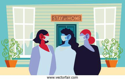 young women using face masks at home