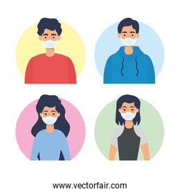 young people using face masks characters