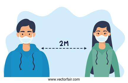 couple using face masks with social distancing for covid19