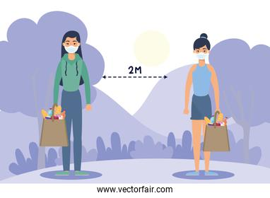women with groceries shopping bag and social distancing for covid19