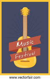 music fest poster with guitar instrument