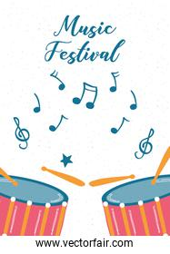 music fest poster with drums instrument