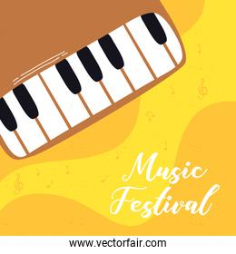 music fest poster with piano instrument
