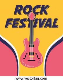 music fest poster with guitar electric instrument