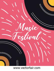 music fest poster with vinyl disk
