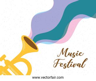 music fest poster with trumpet instrument