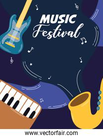 music fest poster with instruments