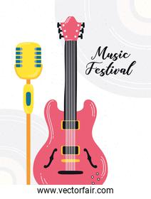 music fest poster with guitar electric and microphone
