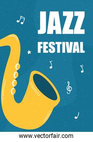 jazz music fest poster with saxophone instrument