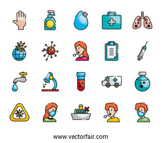 diseased lungs and coronavirus preventions icon set, line color style