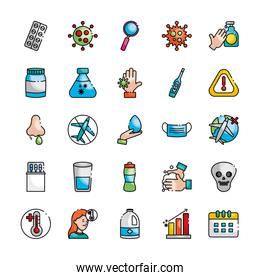 alcohol bottle and covid19 preventions icon set, line color style