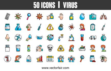 global sphere and covid19 preventions icon set, line color style
