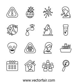 water faucet and coronavirus preventions icon set, line style