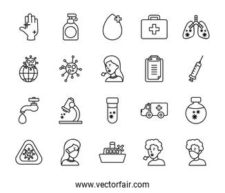 diseased lungs and coronavirus preventions icon set, line style