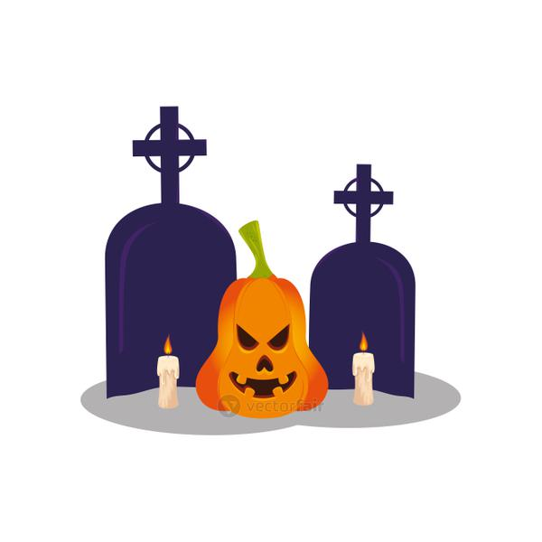 halloween pumpkin with tombs and candles