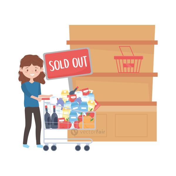 Woman shopping with cart shelf sold out banner and products vector design