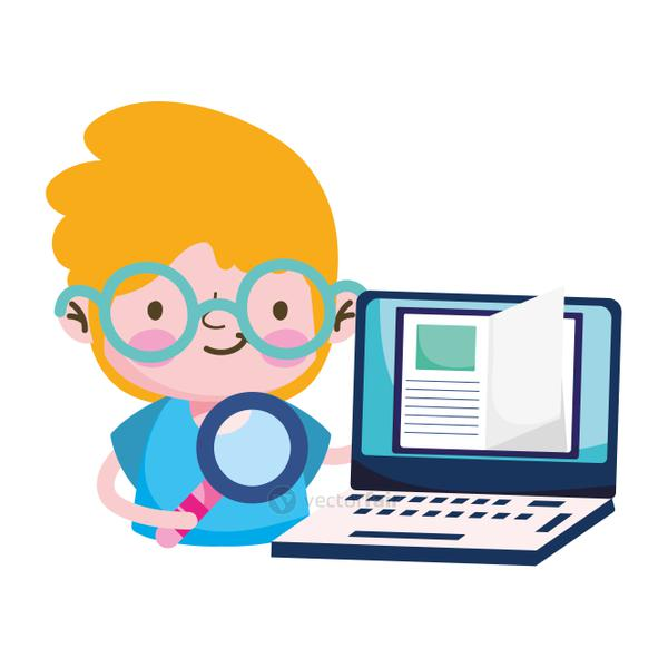 Boy kid book lupe and laptop vector design