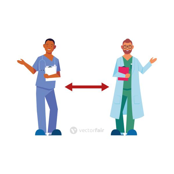 doctors keep distance on white background