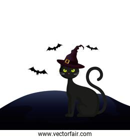 cat feline halloween with hat witch and bats flying