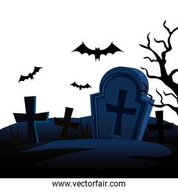 halloween tombs with bats flying