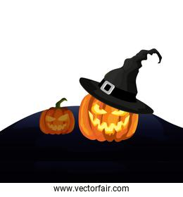 halloween pumpkins with hat witch