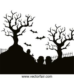 dry tree with cemetery isolated icon