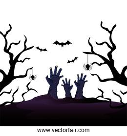 hands of zombie for halloween with bats flying