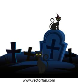 halloween tomb with cats animal