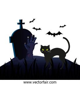 halloween tomb with cat and hand zombie