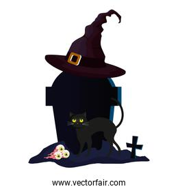halloween tomb with witch hat and icons