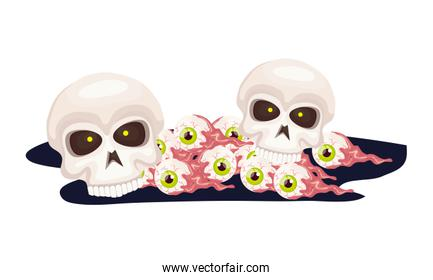 skulls with eyes scary of halloween