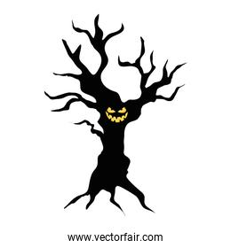 haunted dry tree plant isolated icon