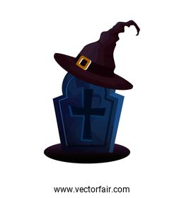 halloween tomb with hat witch