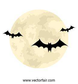 halloween flying   bats and the moon