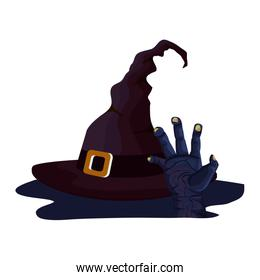 hat of witch for halloween and zombie hand