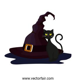 cat feline halloween with hat witch