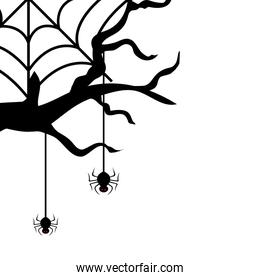 dry tree with spiders isolated icon