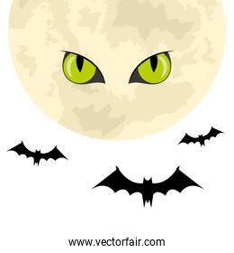 bats flying halloween with moon and scary eyes