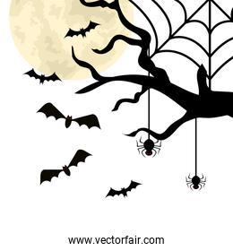 dry tree with bats and spiders