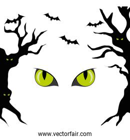 haunted dry trees with eyes scary and bats flying